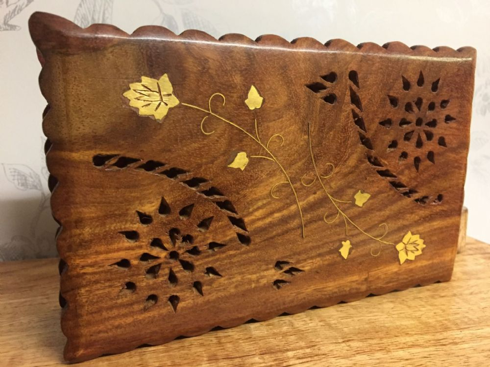 Flower & Zali Wooden Jewelley Box with Gold Inlaid Leaf Design